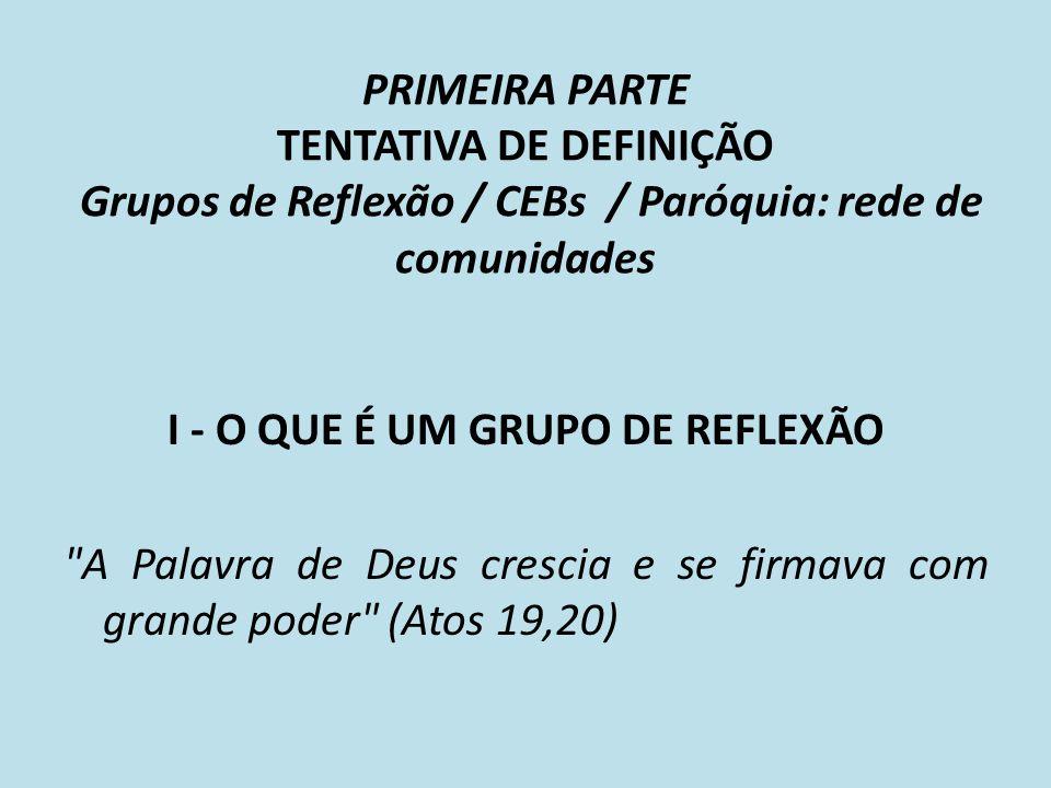 PRIMEIRA PARTE TENTATIVA DE DEFINIÇÃO Grupos de Reflexão / CEBs / Paróquia: rede de comunidades