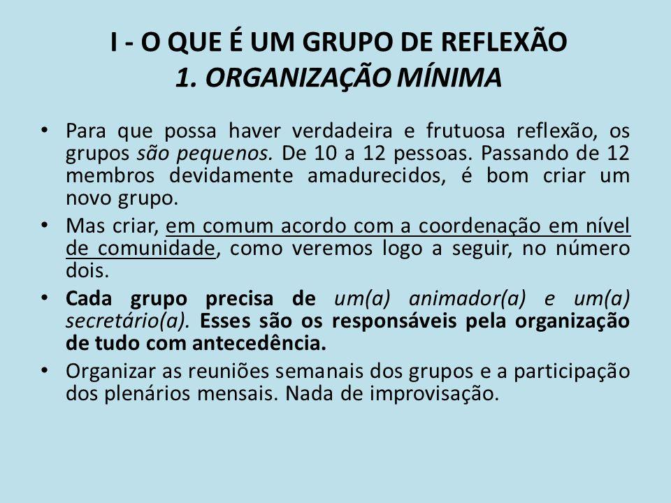 I - O QUE É UM GRUPO DE REFLEXÃO 1. ORGANIZAÇÃO MÍNIMA