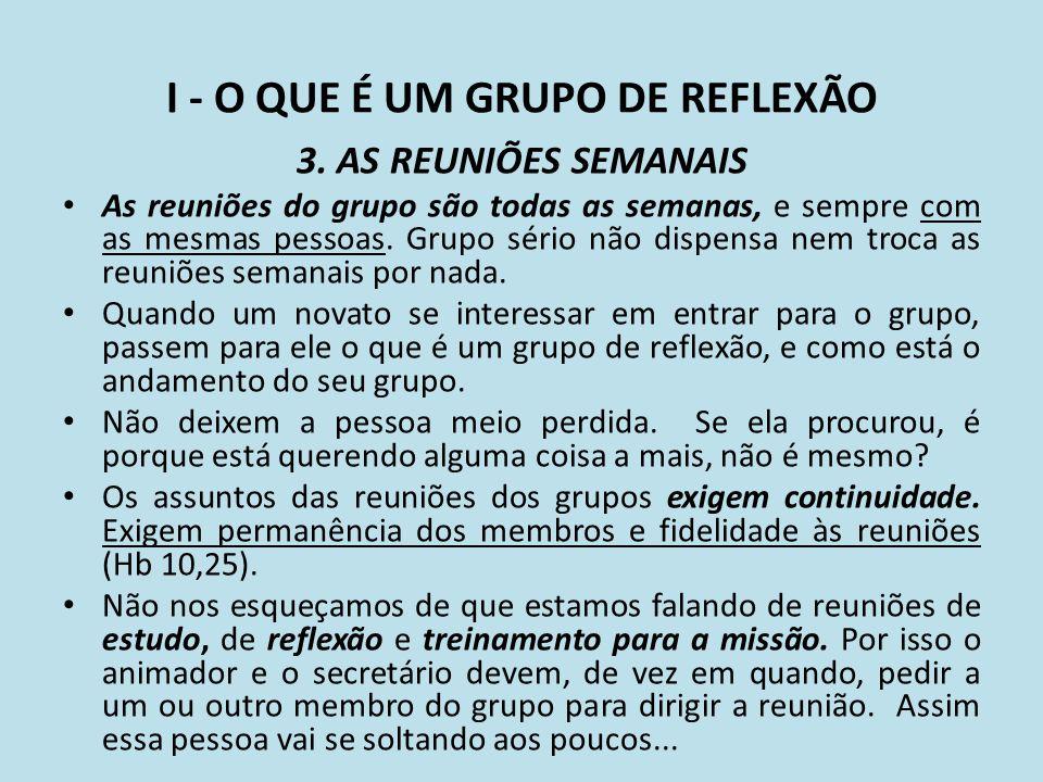 I - O QUE É UM GRUPO DE REFLEXÃO