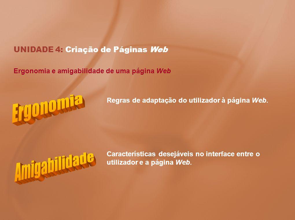 Ergonomia Amigabilidade UNIDADE 4: Criação de Páginas Web