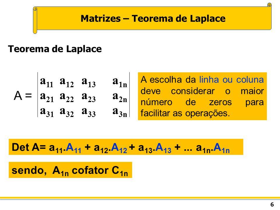 Matrizes – Teorema de Laplace