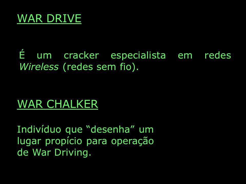 WAR DRIVE É um cracker especialista em redes Wireless (redes sem fio). WAR CHALKER.