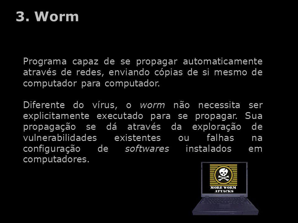 3. Worm Programa capaz de se propagar automaticamente através de redes, enviando cópias de si mesmo de computador para computador.