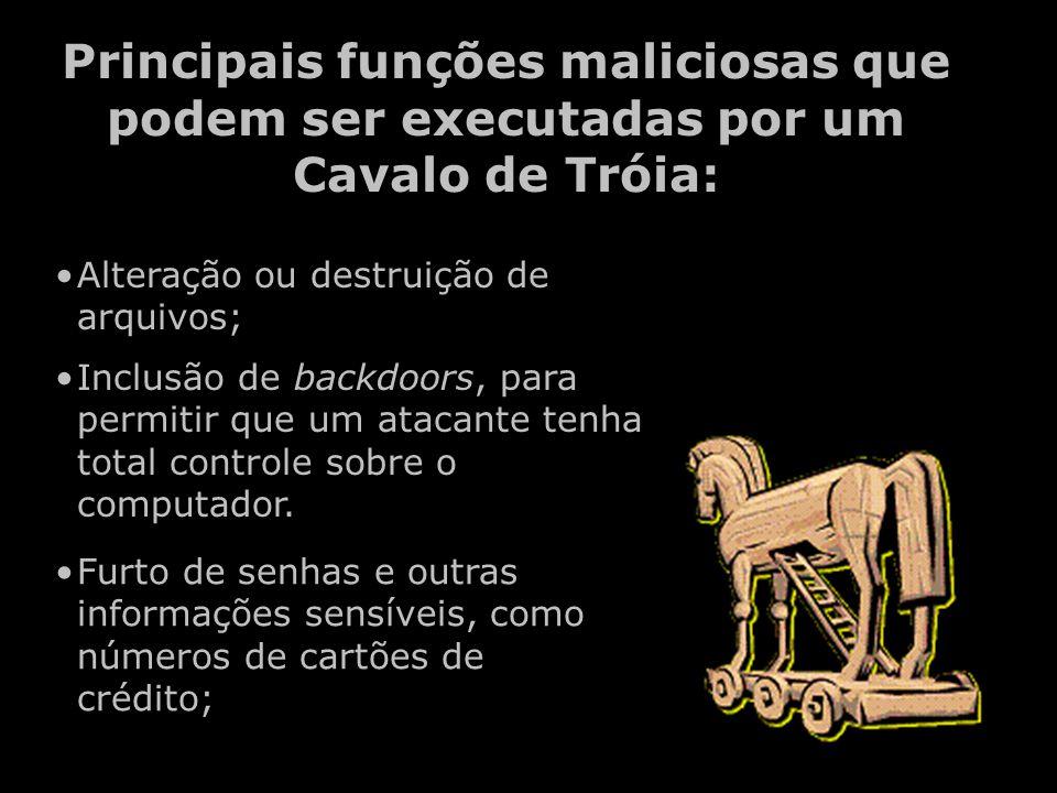 Principais funções maliciosas que podem ser executadas por um Cavalo de Tróia: