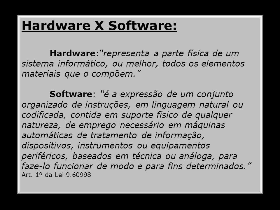 Hardware X Software: Hardware: representa a parte física de um sistema informático, ou melhor, todos os elementos materiais que o compõem.