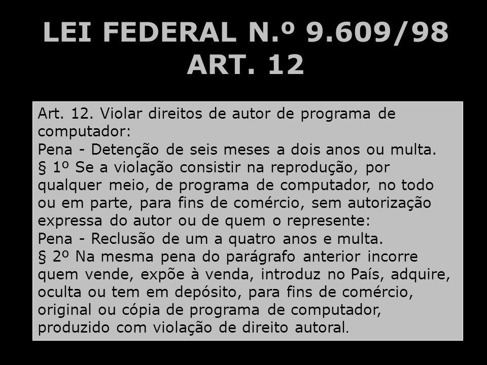 LEI FEDERAL N.º 9.609/98 ART. 12 Art. 12. Violar direitos de autor de programa de computador: Pena - Detenção de seis meses a dois anos ou multa.