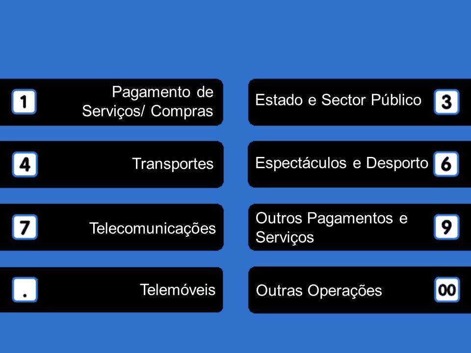 Pagamento de Serviços/ Compras. Estado e Sector Público. Transportes. Espectáculos e Desporto. Outros Pagamentos e.