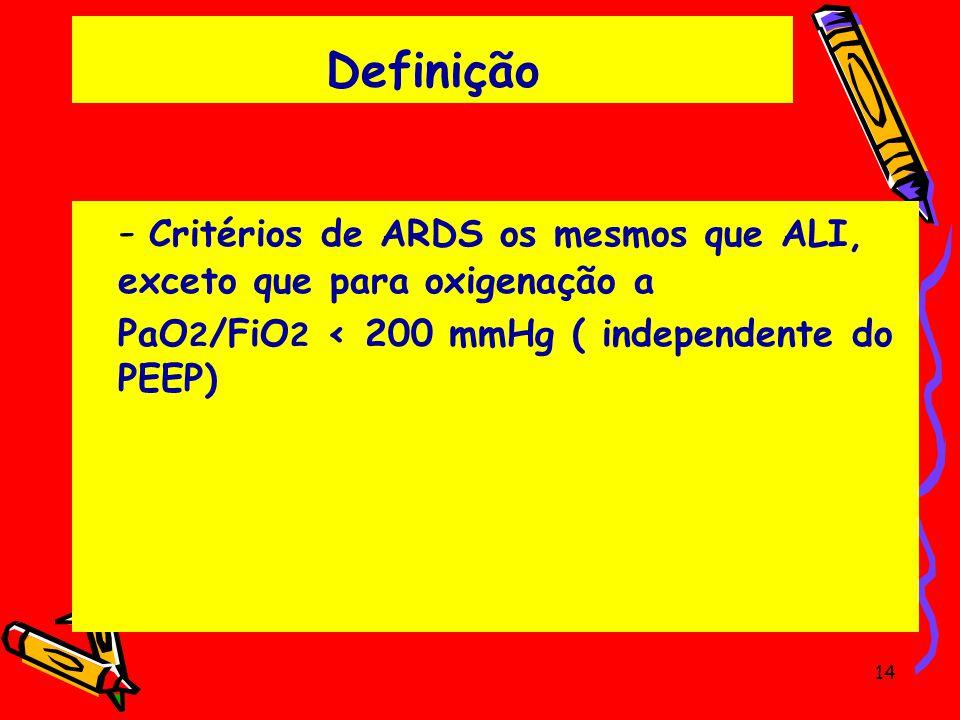 Definição - Critérios de ARDS os mesmos que ALI, exceto que para oxigenação a.