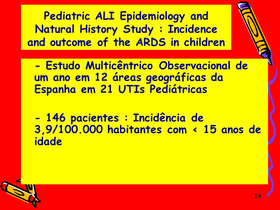 Pediatric ALI Epidemiology and Natural History Study : Incidence and outcome of the ARDS in children