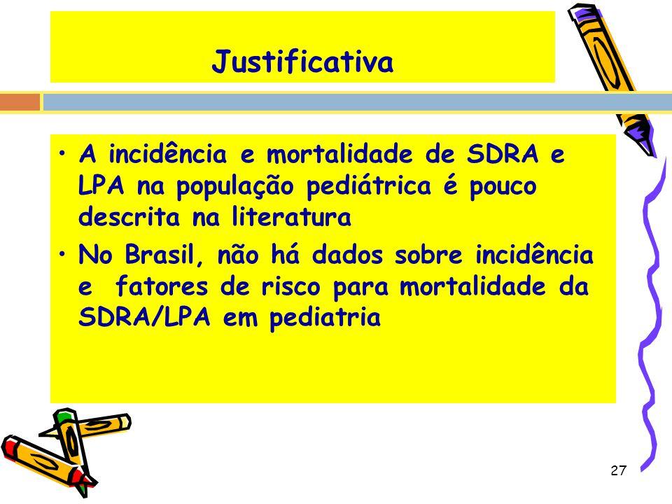 Justificativa A incidência e mortalidade de SDRA e LPA na população pediátrica é pouco descrita na literatura.