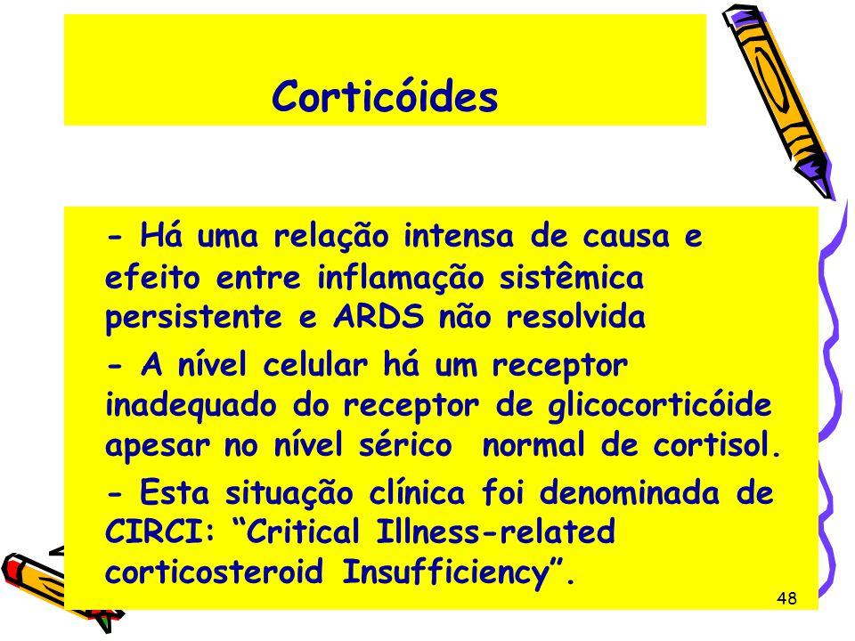 Corticóides - Há uma relação intensa de causa e efeito entre inflamação sistêmica persistente e ARDS não resolvida.
