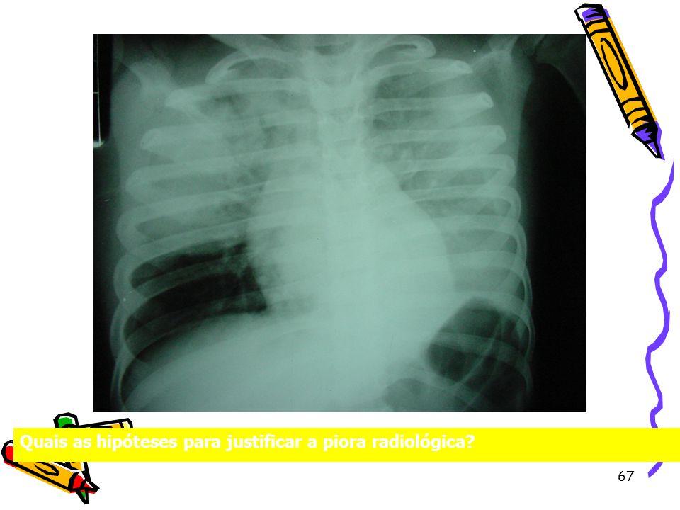 Quais as hipóteses para justificar a piora radiológica