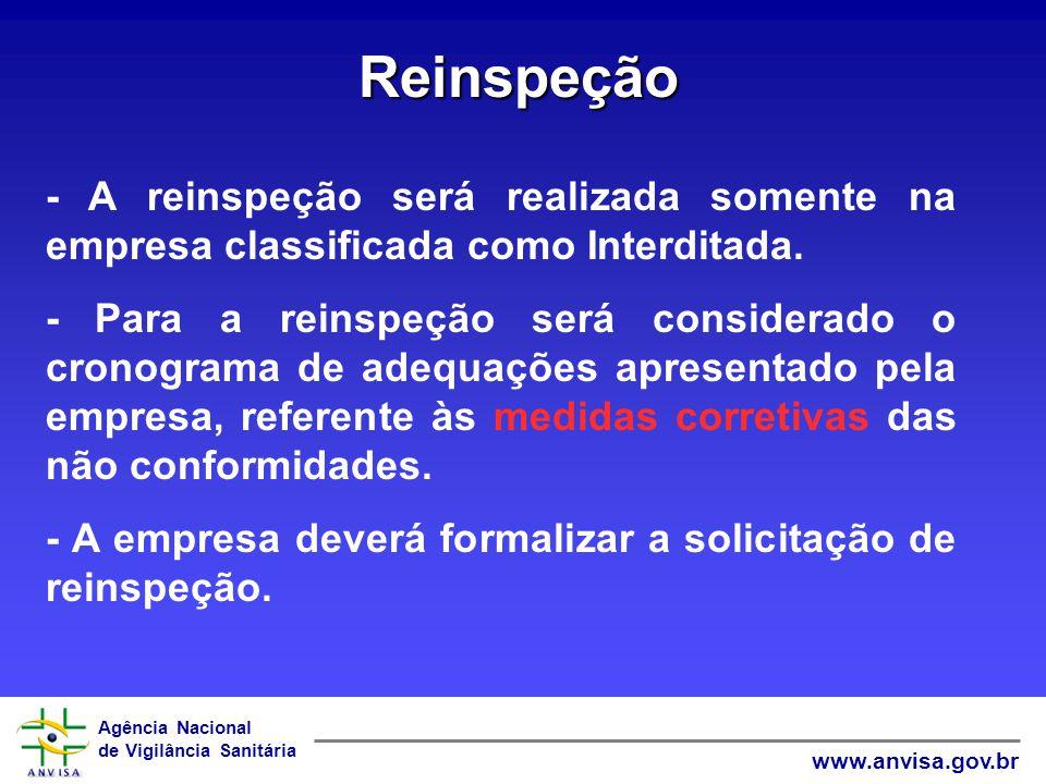 Reinspeção - A reinspeção será realizada somente na empresa classificada como Interditada.