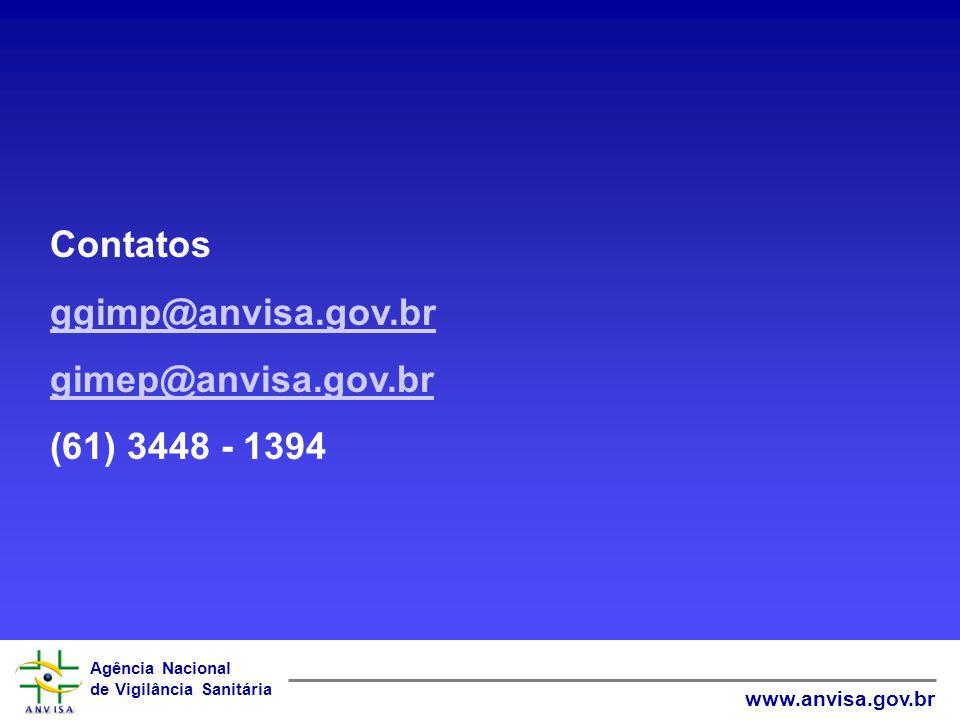 Contatos ggimp@anvisa.gov.br gimep@anvisa.gov.br (61) 3448 - 1394