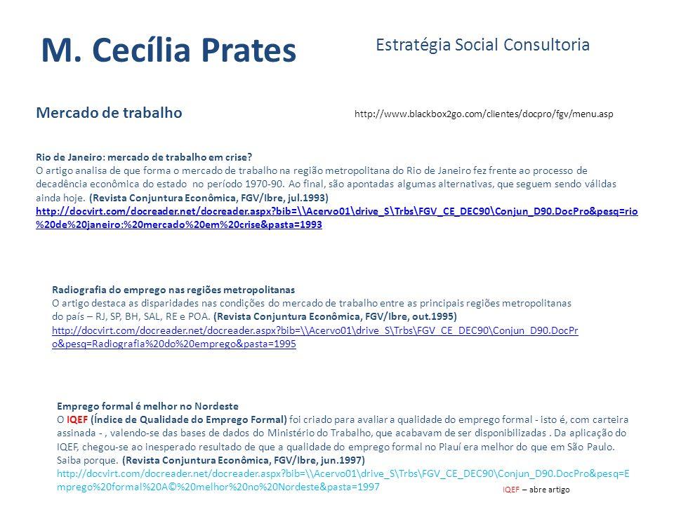 M. Cecília Prates Estratégia Social Consultoria Mercado de trabalho
