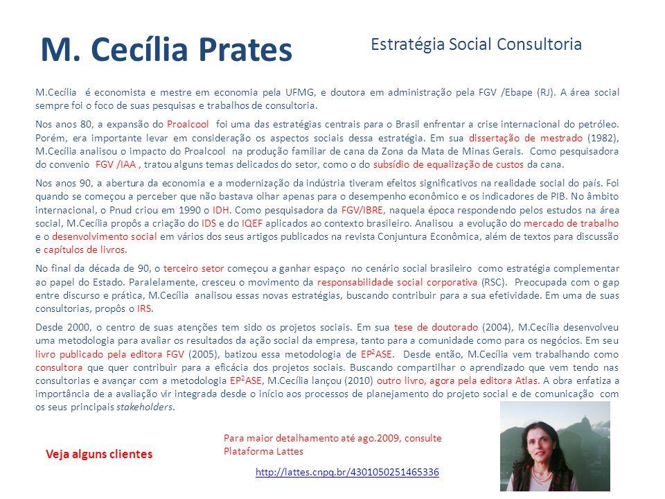 M. Cecília Prates Estratégia Social Consultoria Veja alguns clientes