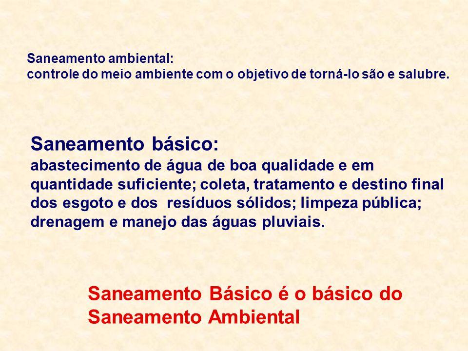 Saneamento Básico é o básico do Saneamento Ambiental