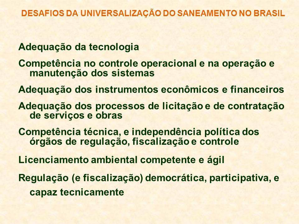 DESAFIOS DA UNIVERSALIZAÇÃO DO SANEAMENTO NO BRASIL