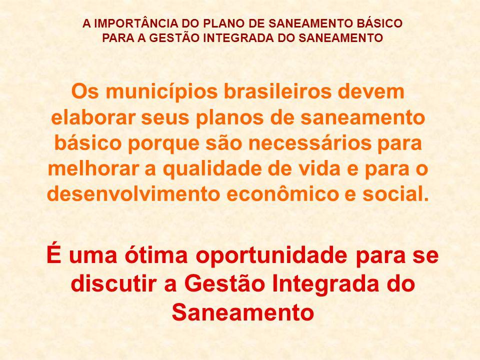 A IMPORTÂNCIA DO PLANO DE SANEAMENTO BÁSICO PARA A GESTÃO INTEGRADA DO SANEAMENTO