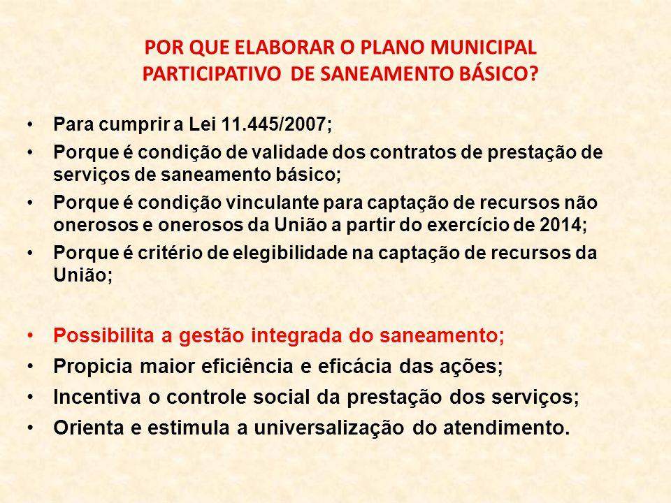 POR QUE ELABORAR O PLANO MUNICIPAL PARTICIPATIVO DE SANEAMENTO BÁSICO