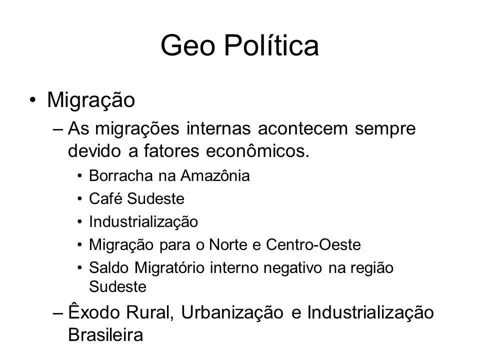 Geo Política Migração. As migrações internas acontecem sempre devido a fatores econômicos. Borracha na Amazônia.