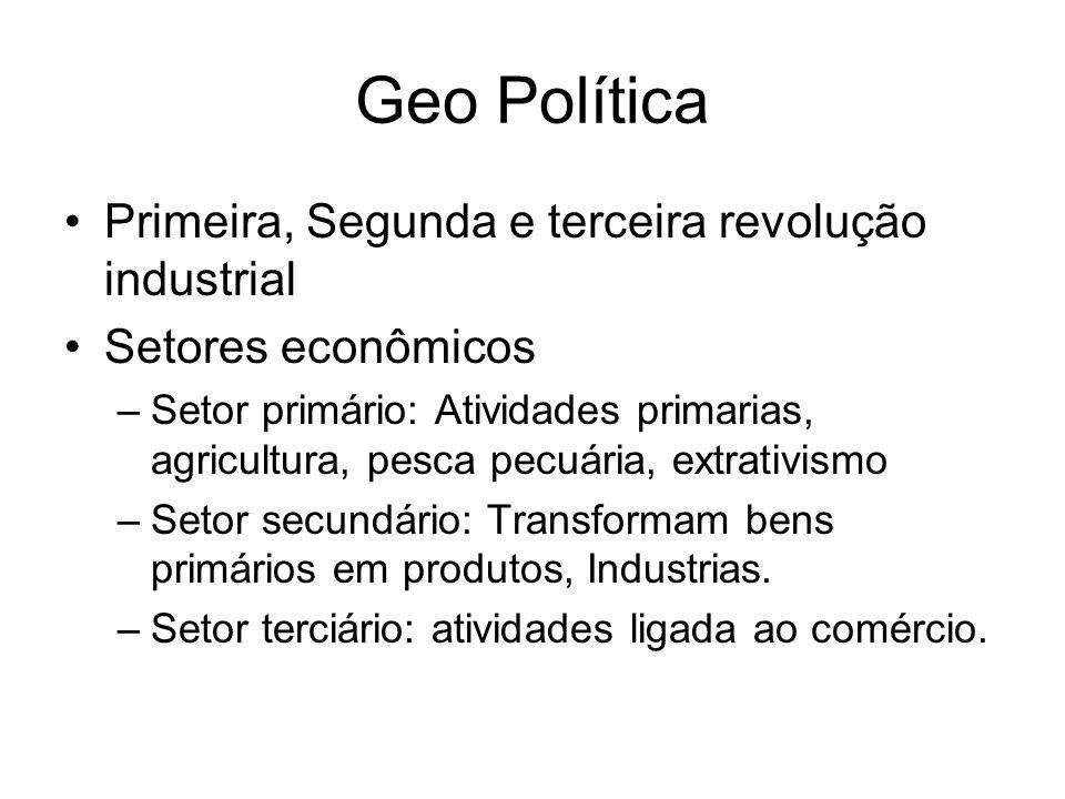 Geo Política Primeira, Segunda e terceira revolução industrial