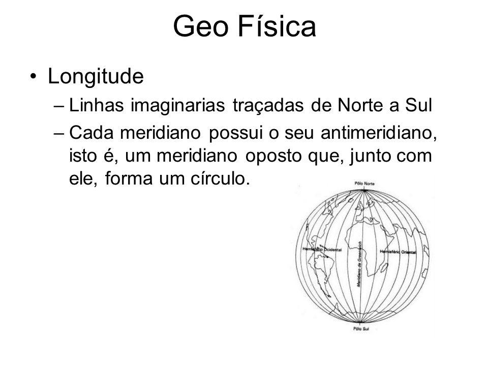 Geo Física Longitude Linhas imaginarias traçadas de Norte a Sul