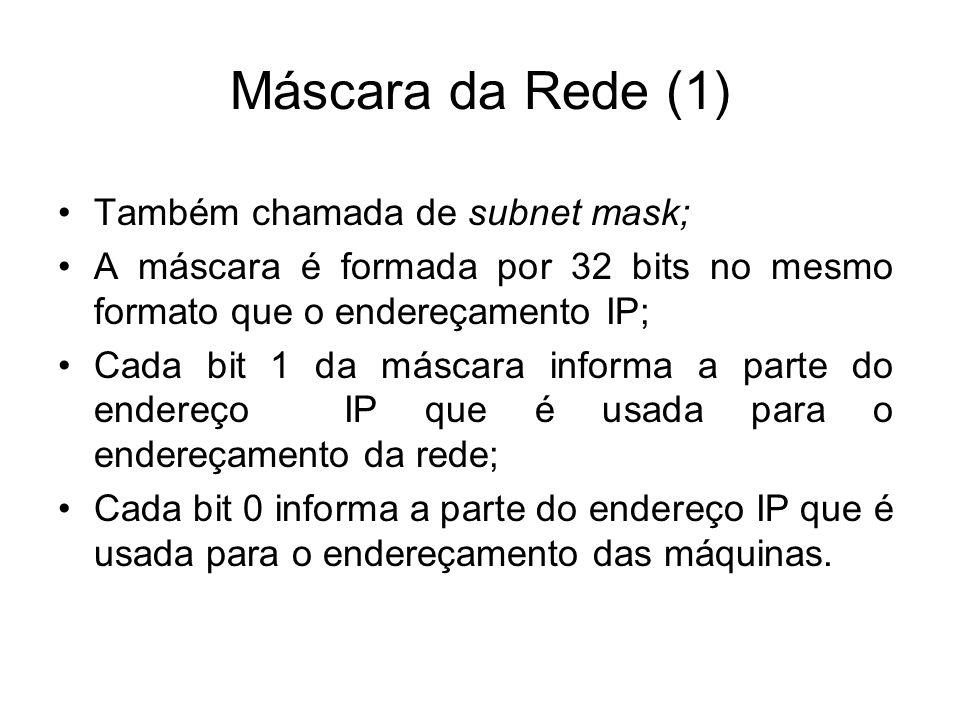 Máscara da Rede (1) Também chamada de subnet mask;