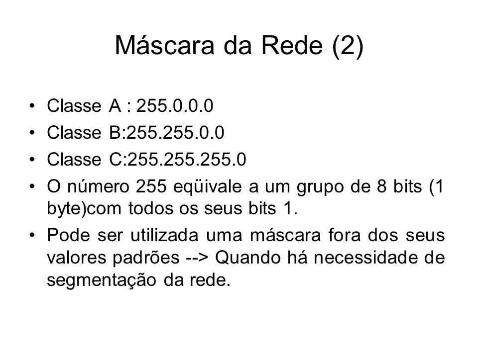 Máscara da Rede (2) Classe A : 255.0.0.0 Classe B:255.255.0.0