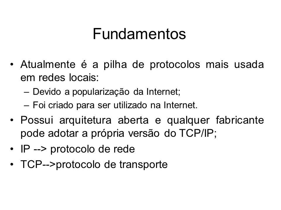 Fundamentos Atualmente é a pilha de protocolos mais usada em redes locais: Devido a popularização da Internet;