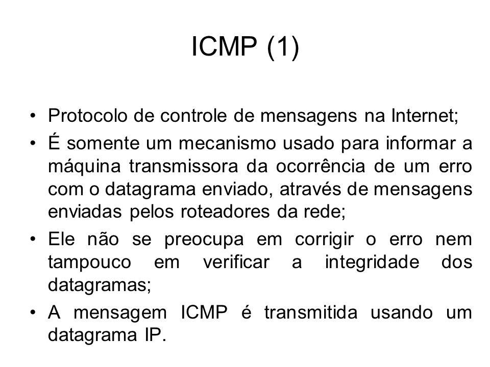 ICMP (1) Protocolo de controle de mensagens na Internet;