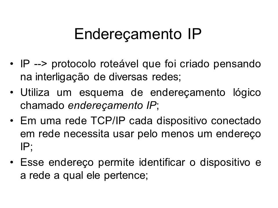 Endereçamento IP IP --> protocolo roteável que foi criado pensando na interligação de diversas redes;