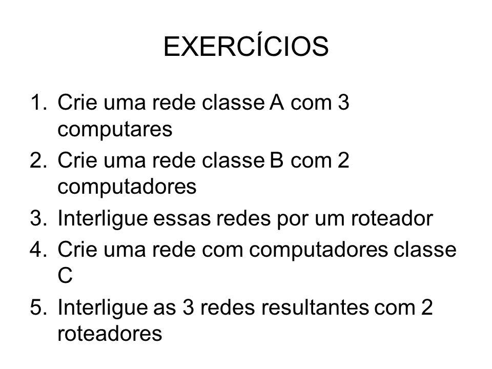 EXERCÍCIOS Crie uma rede classe A com 3 computares