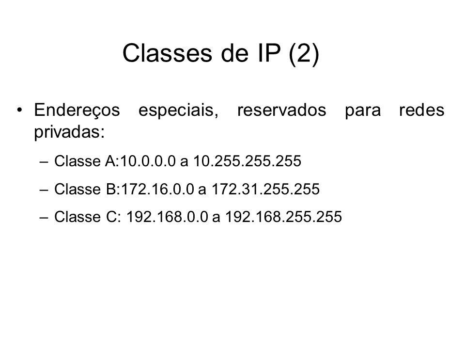 Classes de IP (2) Endereços especiais, reservados para redes privadas: