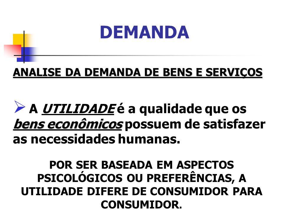 DEMANDA ANALISE DA DEMANDA DE BENS E SERVIÇOS. A UTILIDADE é a qualidade que os bens econômicos possuem de satisfazer as necessidades humanas.