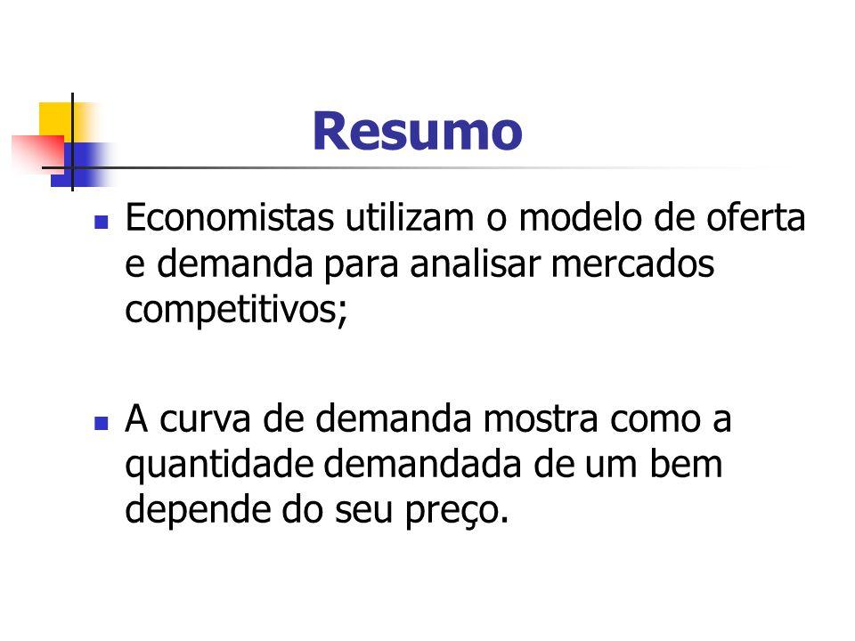 Resumo Economistas utilizam o modelo de oferta e demanda para analisar mercados competitivos;
