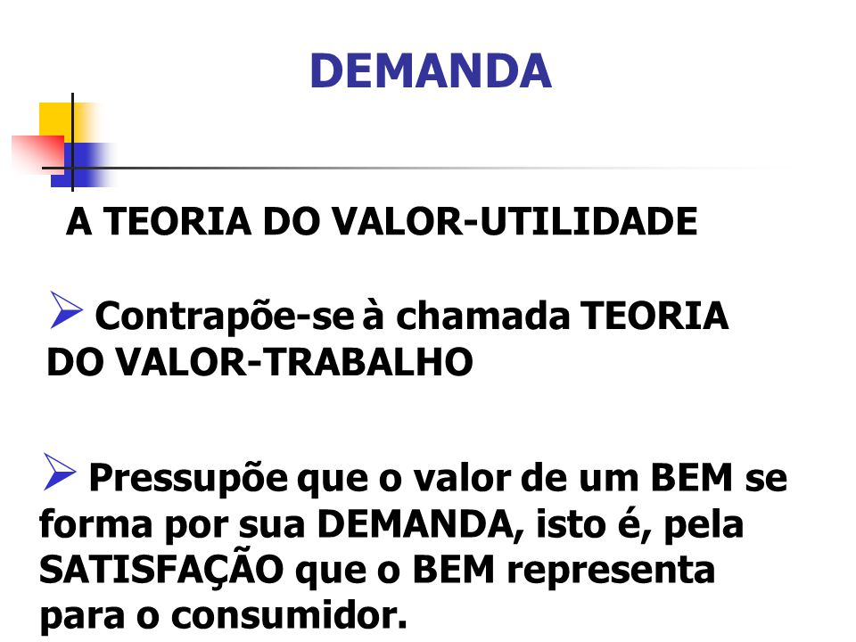 DEMANDA A TEORIA DO VALOR-UTILIDADE