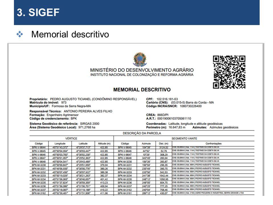 3. SIGEF Memorial descritivo os limites de imóveis. 29 29 29