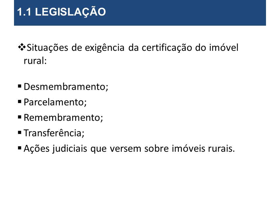 Situações de exigência da certificação do imóvel rural: