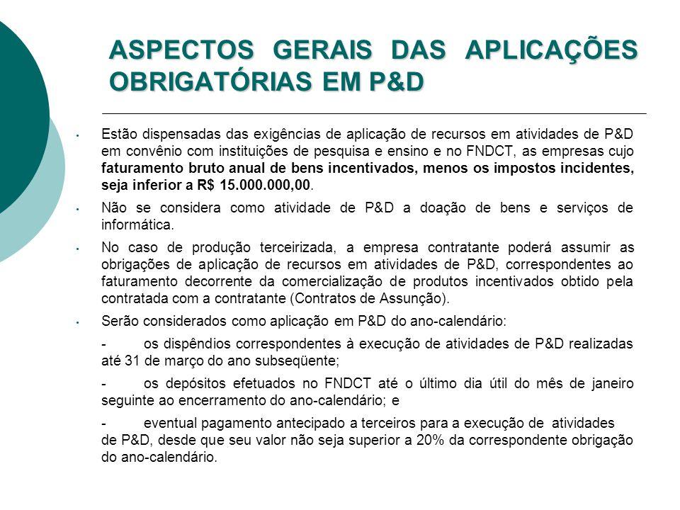ASPECTOS GERAIS DAS APLICAÇÕES OBRIGATÓRIAS EM P&D