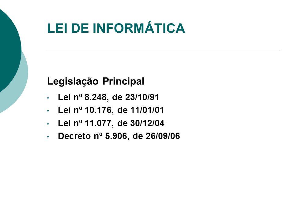 LEI DE INFORMÁTICA Legislação Principal Lei nº 8.248, de 23/10/91