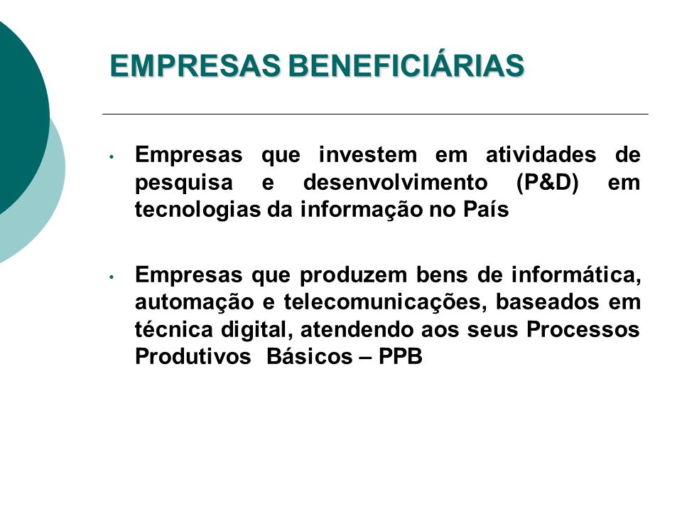EMPRESAS BENEFICIÁRIAS