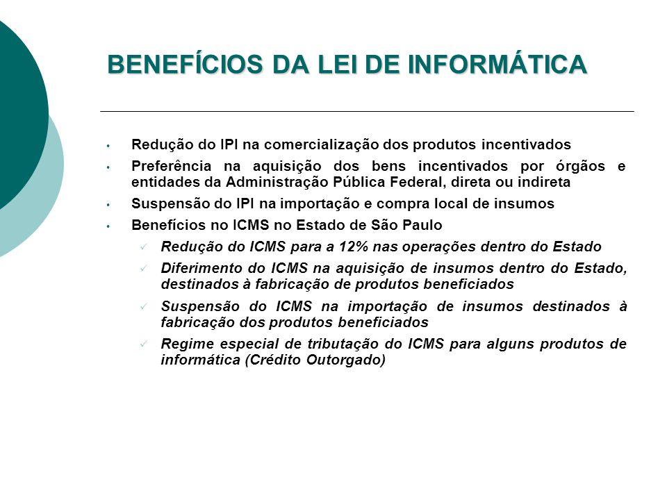 BENEFÍCIOS DA LEI DE INFORMÁTICA