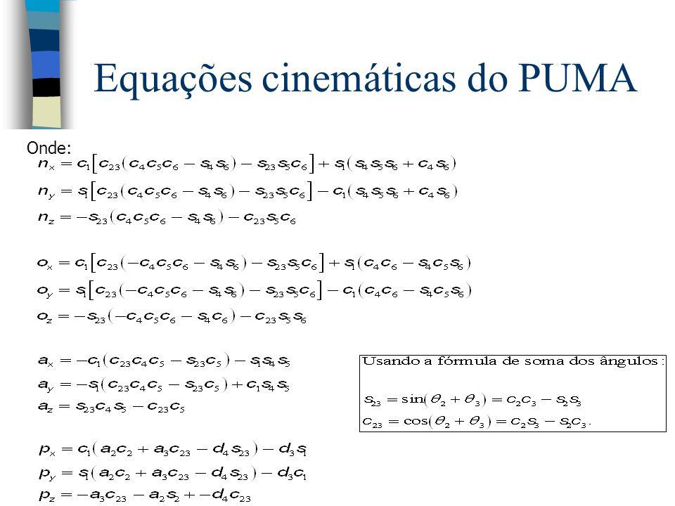 Equações cinemáticas do PUMA