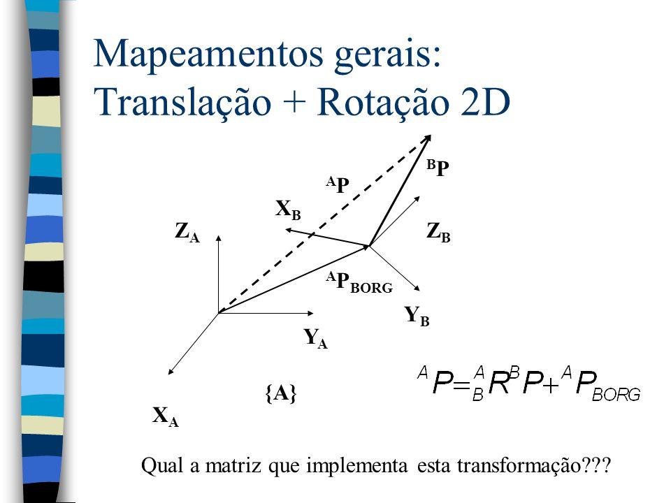 Mapeamentos gerais: Translação + Rotação 2D