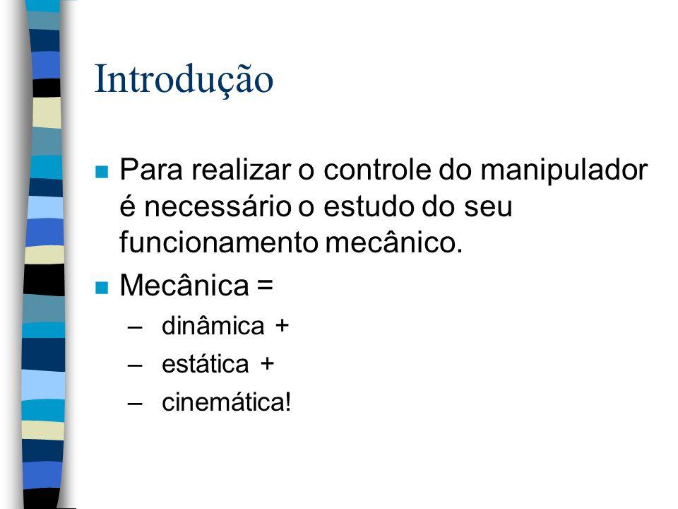 Introdução Para realizar o controle do manipulador é necessário o estudo do seu funcionamento mecânico.