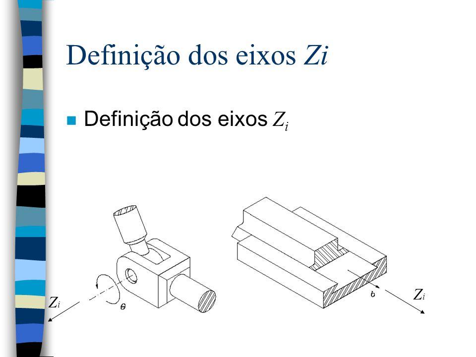 Definição dos eixos Zi Definição dos eixos Zi Zi Zi