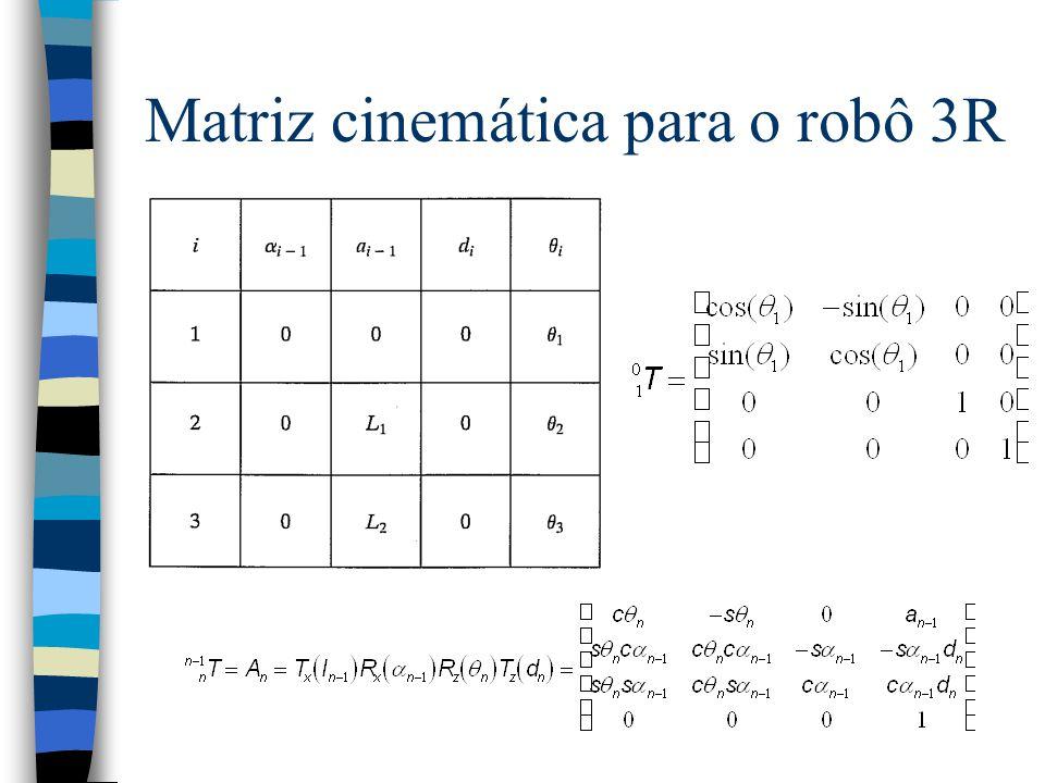 Matriz cinemática para o robô 3R