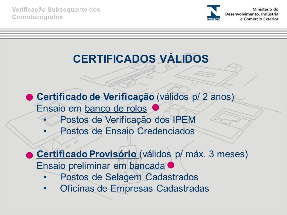 CERTIFICADOS VÁLIDOS Certificado de Verificação (válidos p/ 2 anos)