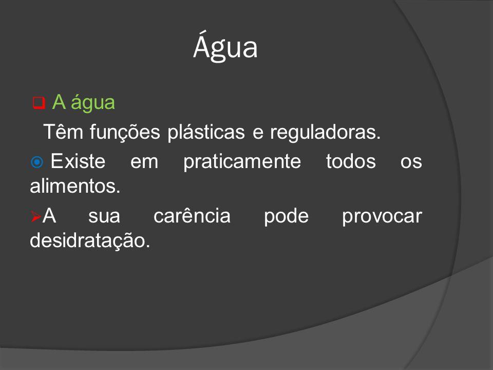Água A água Têm funções plásticas e reguladoras.
